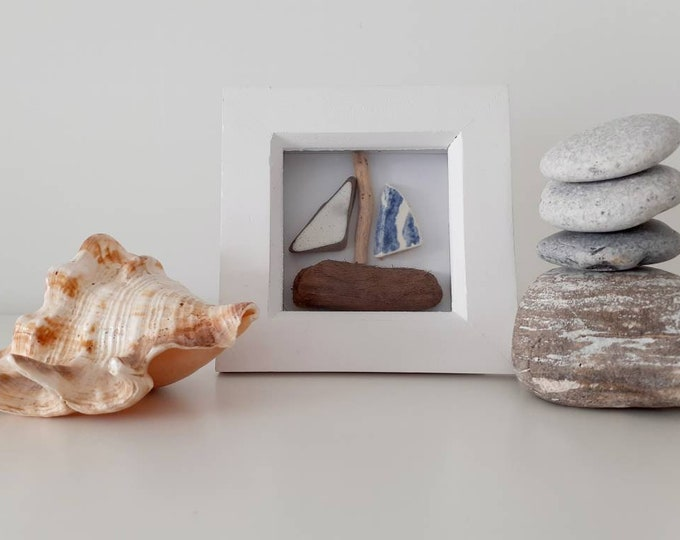 Driftwood boat, pebble art picture, pebble picture, pottery picture, birthday gift, teacher gift, coastal decor, coastal art.