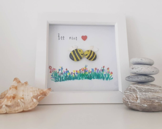 Bee mine... bespoke personalised cute romantic pebble art, perfect for valentine's day, birthday or Christmas