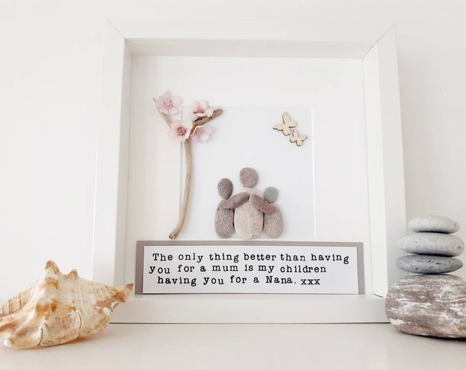 Mother's Day Gift, personalised Mothers day gift, gift for grandma, gift for nan, pebble art, framed pebble picture.