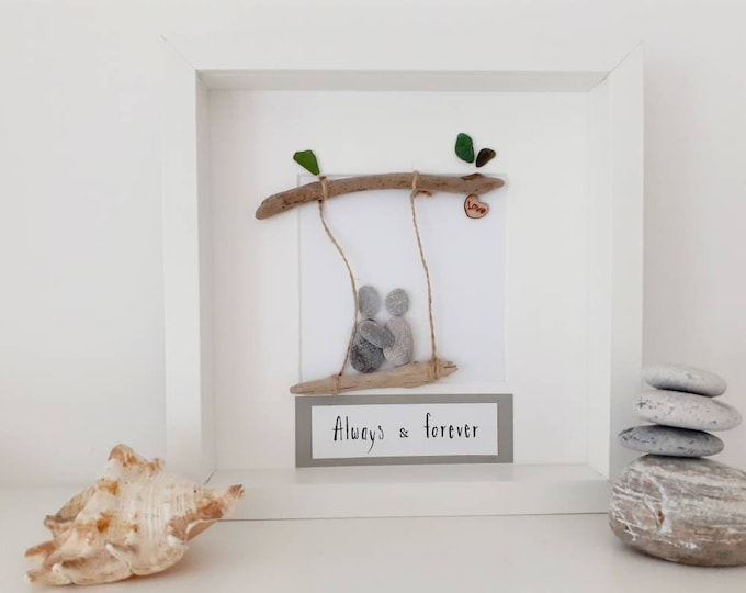 Always and forever gift, romantic pebble art picture, valentine's day gift, wedding gift, anniversary gift, Birthday gift.