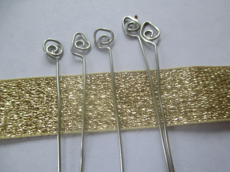 Choice of Tinned Copper Or Sterling Silver Hairpins Handmade Handmade Spiral Wire Wrapped