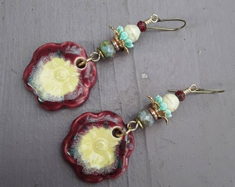 Boho, OOAK, Floral, Dangle, Handcrafted, Spring Earrings, Artisan Ceramic Earring Charms, Glass Beads, Gift for Her