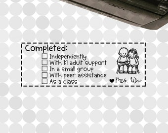 Personalized COMPLETED Checklist (with 5 CHOICES) Self-inking Teacher Stamp