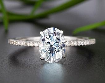 Classic 10K White Gold Moissanite Engagement Ring, 1.25 Carat Oval Cut Natural Diamond Promise Ring, Anniversary Ring For Her, Women Gift