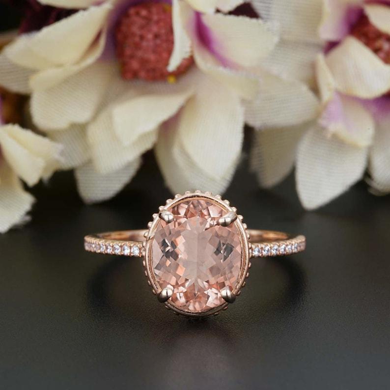 Gemstone Responsible 10k Rose Gold Morganite Diamonds Women Milgrain Gemstone Jewellery Wedding Ring