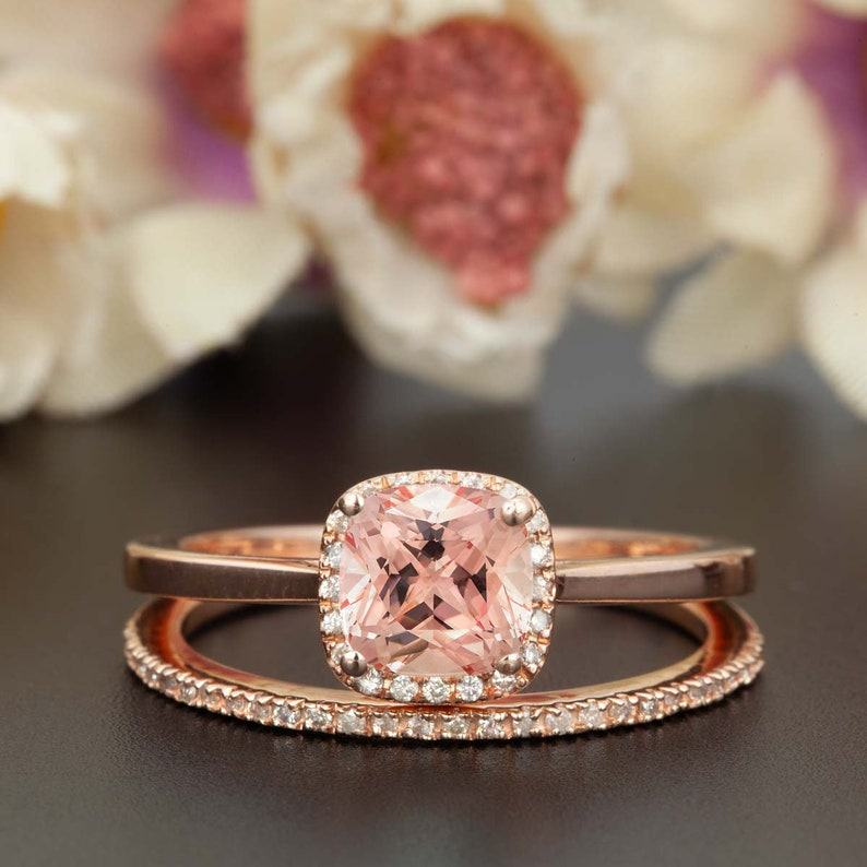 7147fb836f365 Antique Halo Design 1.50 Carat cushion cut Morganite and Diamond Engagement  Wedding Ring Set for Women Made in 10k Rose Gold