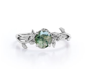 Best Selling Natural Moss Agate Engagement Ring For Women, Alternative Engagement Ring, Nature Inspired Leaf Ring, Healing Gemstone Ring