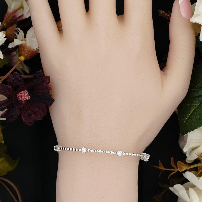 White Sterling Silver Bracelet,Cubic Zirconia Bracelet Dainty Bracelet For Women Bangles Bracelet,Charm Bracelet,Birthday/'s Gift For Her