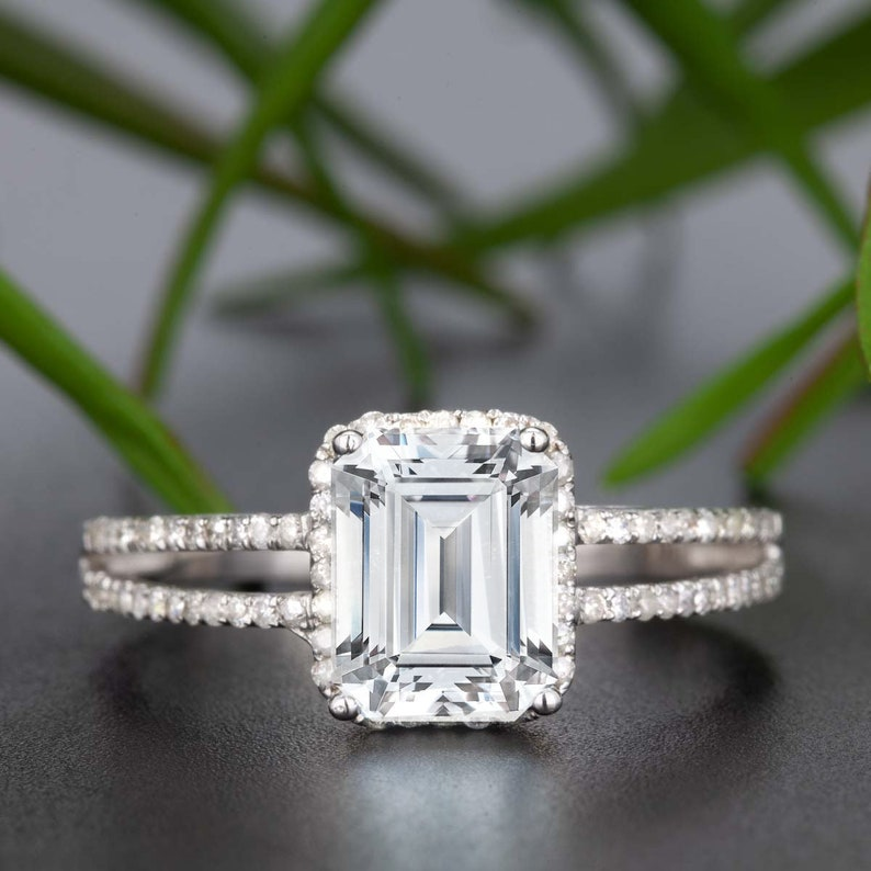 505dd739c1c5e 2 Carat Moissanite Emerald Cut, Real Diamond Classic Engagement Ring,Two  Row Engagement Ring, Real 14K Solid Gold, Promise Ring,Gift For Mom