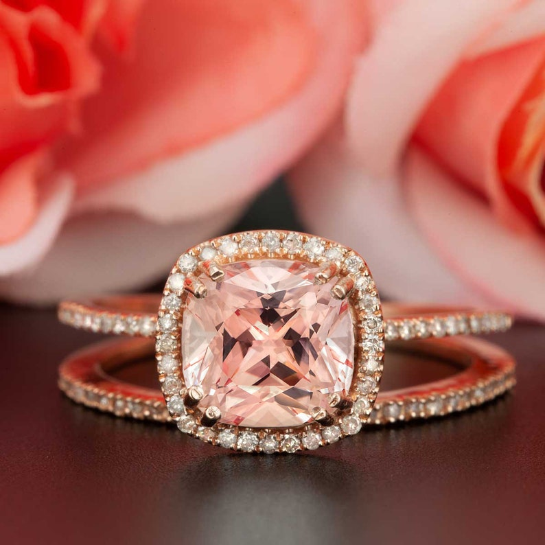 eeb6a9525632c AUTHENTIC 2 Carat Peach Pink Morganite and REAL Diamond Engagement Ring in  10K Rose Gold with Classic Wedding Band Bridal Wedding Ring Set