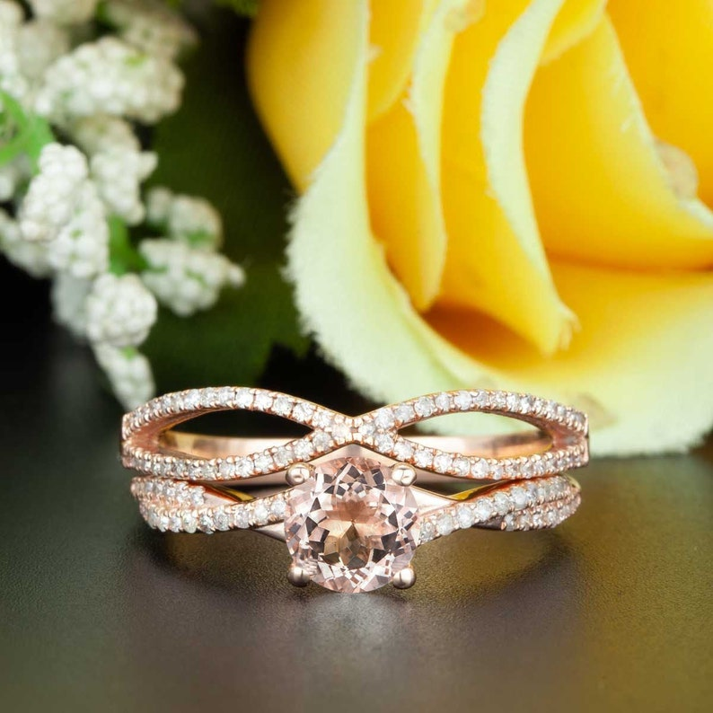 0537aa64de664 Real 10K Rose Gold, 2.50 Carat Authentic Morganite and Infinity Diamond  Engagement Ring, Diamond Art Deco Wedding Bands, Bridal Wedding Set