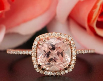 AUTHENTIC 1.50 Carat Peach Pink Morganite and NATURAL Diamond Engagement Ring, Personalized Promise Ring for Women in 14K Solid Rose Gold