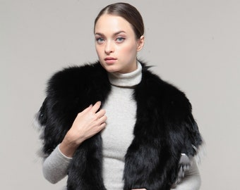 458f9c82a0db Real fur Fox with Rabbit extra large collar black color