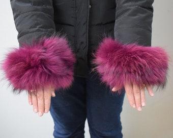 8b80d40fbc30 Real Fur purple Finn Raccoon cuffs with elastic on top  Winter accessories