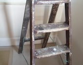 Vintage Wooden step Ladders character display ,notice board, paint splattered patina
