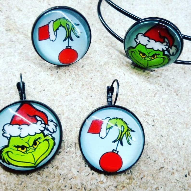 Set earrings ring bracelet MERRY GRINCHMAS
