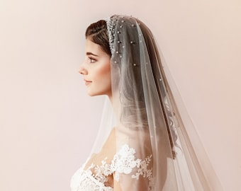 XQS Bridal Birdcage Veil Tulle Rhinestone Short Wedding Veil