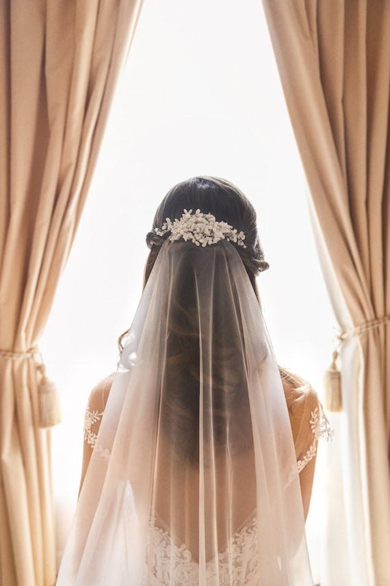 Sheer Minimal Wedding Veil Fast Shipping! Multiple Length /& Color Options