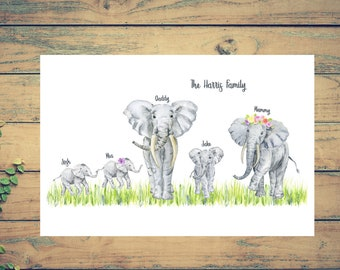 PERSONALISED ELEPHANT PRINT, Wall print - Housewarming gift - Family print - Mothers Day Gift - Valentines gift