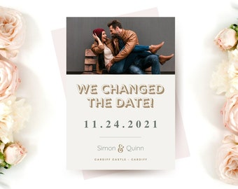 CHANGED THE DATE - Wedding Invites - Budget Wedding - Small Wedding - wedding Invitations - Photo Invites - Digital Invites - A6 Invites -