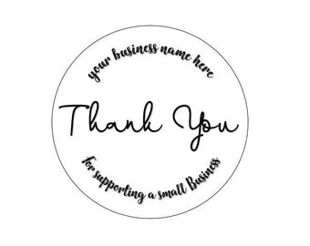 24 ROUND BUSINESS STICKERS 45MM X 45MM. Thank You - Envelope - Personalised Stickers - Thank You For Your Order