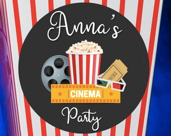 12 x LARGE ROUND Cinema Birthday Stickers 63MM X 63MM. Christening - Birthday - Party - Party Bags - Personalised Stickers- First Birthday