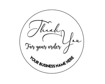 24 ROUND BUSINESS STICKERS 45MM X 45MM. Thank You- Envelope - Personalised Stickers - Thank You For Your Order