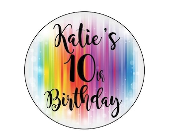 24 ROUND RAINBOW STICKERS 45MM X 45MM. Birthday - Party - Party Bags - Personalised Stickers - Sweet Cones