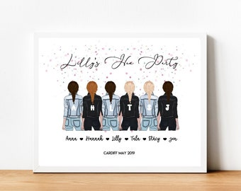 A4 PERSONALISED BFF PRINT - Best Friend Print - Bridal Party Print - Birthday - Bride Tribe - Wedding - 30th - 21st - Hen Party