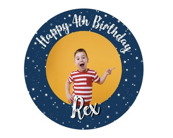 ROUND PHOTO STICKERS x24 - 45MM X 45MM. Christening - Birthday - Party - Party Bags - Personalised Stickers - First Birthday - 30th - 21st