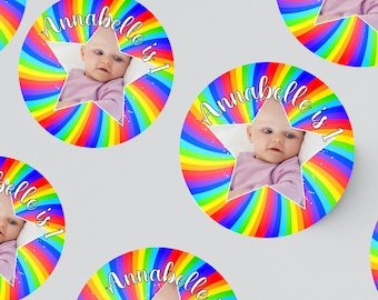 24 ROUND PHOTO STICKERS 45MM X 45MM. Rainbow - Christening - Birthday - Party Bags - Personalised Stickers - First Birthday - Prince - 1st