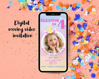 Birthday Invitation Personalised Video - Birthday Invite - Unicorn invite - Invitation Video - Animated Invitations - Party Invitation - 1st
