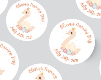 24 SWAN ROUND PHOTO Stickers 45MM X 45MM.  Baby Shower -Christening - Birthday - Party - Party Bags - Personalised Stickers - First Birthday