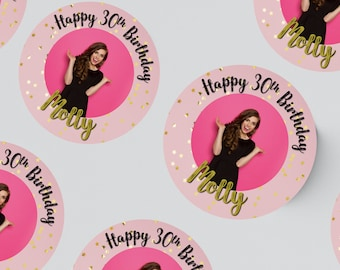 24 ROUND PHOTO STICKERS 45MM X 45MM. Christening - Birthday - Party - Party Bags - Personalised Stickers - First Birthday - 30th - 21st 18th