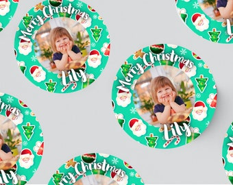 24 ROUND PHOTO STICKERS 45MM X 45MM. Christmas - Birthday - Party - Party Bags - Personalised Stickers - First Birthday - Stocking