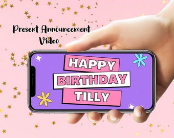 Birthday Gift Announcement Personalised  Video - Birthday Present - Concert Tickets - Invitation Video - Animated Invitations - 18th - 21st