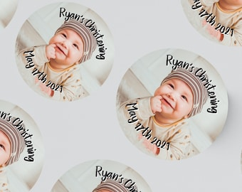 24/12 ROUND PHOTO STICKERS 45MM X 45MM / 64MM X 64MM Christening - Birthday - Party - Party Bags - Personalised Stickers - First Birthday