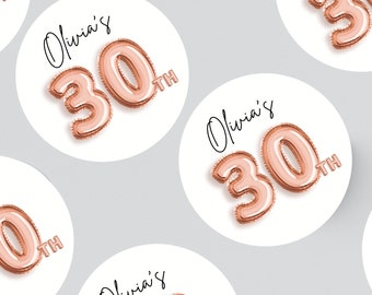 24 ROUND BALLOON STICKERS 45MM X 45MM. Age stickers - Birthday - Party Bags - Personalised Stickers - First Birthday - 30th - 21st - 18th