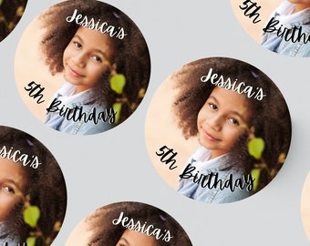24 ROUND PHOTO STICKERS 45MM X 45MM. Christening - Birthday - Party - Party Bags - Personalised Stickers - First Birthday