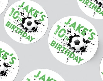 24 FOOTBALL STICKERS 45MM X 45MM. Birthday - Party - Party Bags - Personalised Stickers - Football Party