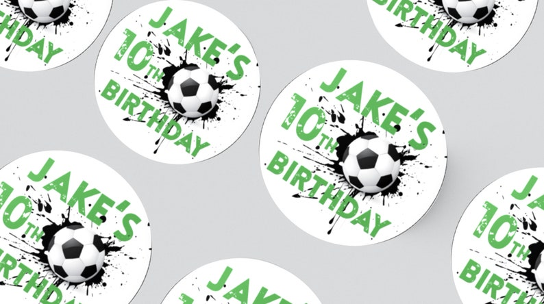 24 FOOTBALL STICKERS 45MM X 45MM. Birthday  Party  Party image 1
