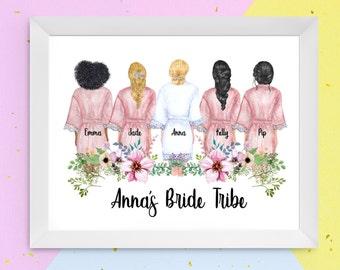 BRIDESMAID / BRIDE TRIBE Personalised Print   Wedding Party Print   Bridal Party Print   Bridesmaids   Bride Tribe   Wedding