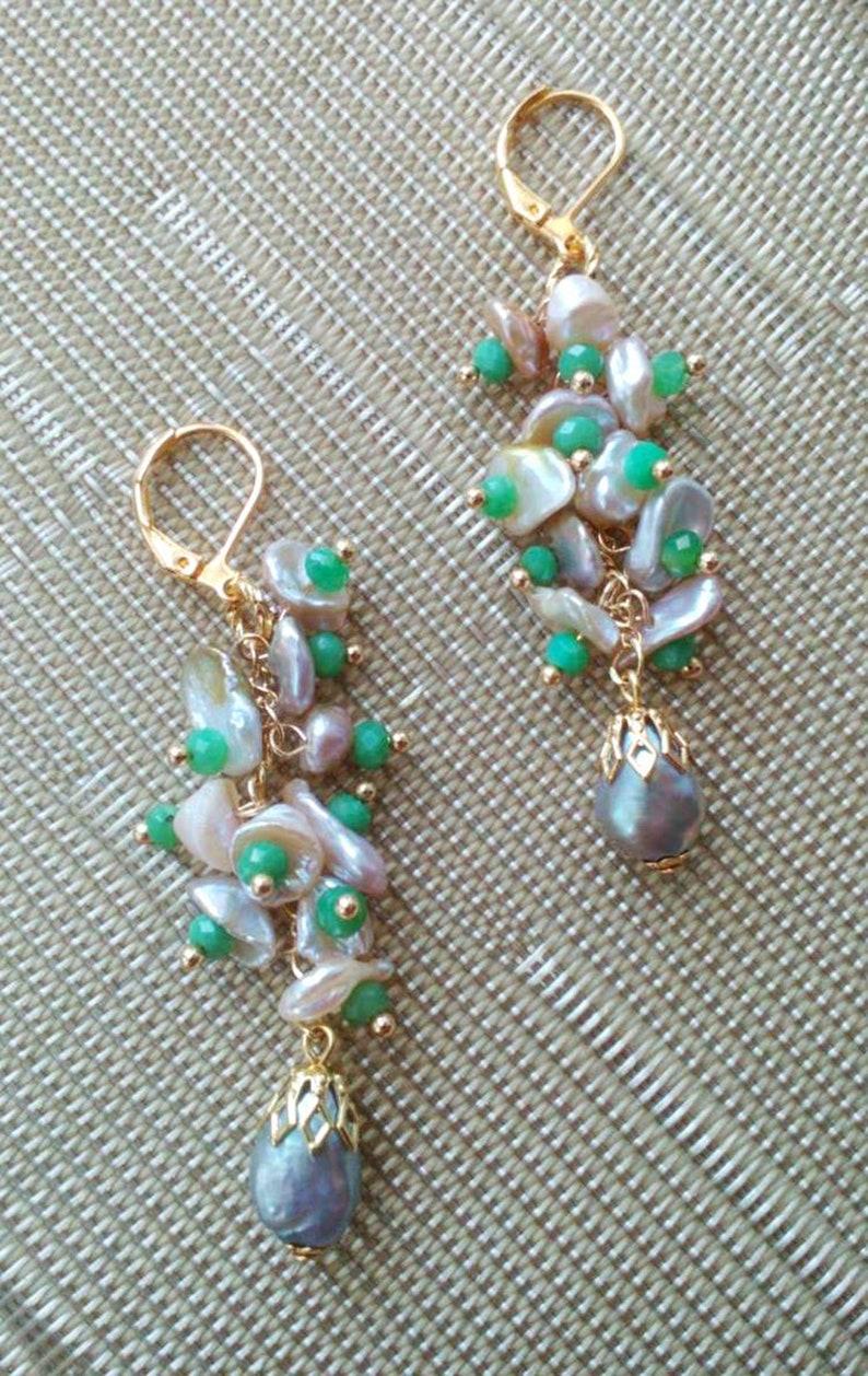Chrysoprase Earrings Small Cluster Real South Sea Pearl Earrings