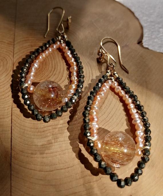 Dainty Hoop Earrings. Pearl, Pyrite & Rutilated Quartz Statement Earrings