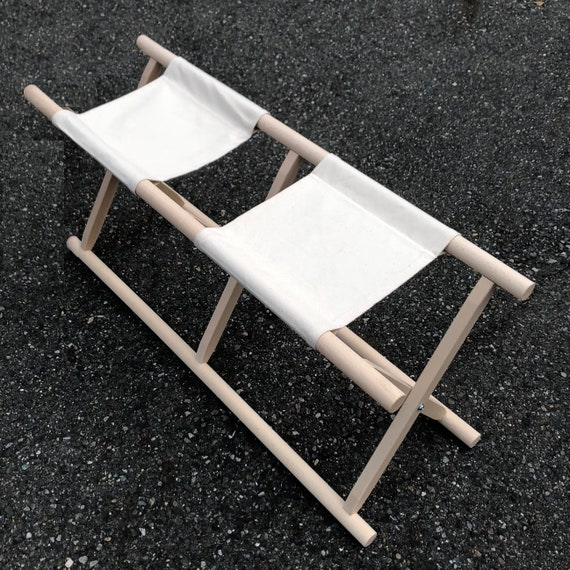 Remarkable Japanese Traditional Black Painted Folding Double Stool With Cotton Cloth Evergreenethics Interior Chair Design Evergreenethicsorg