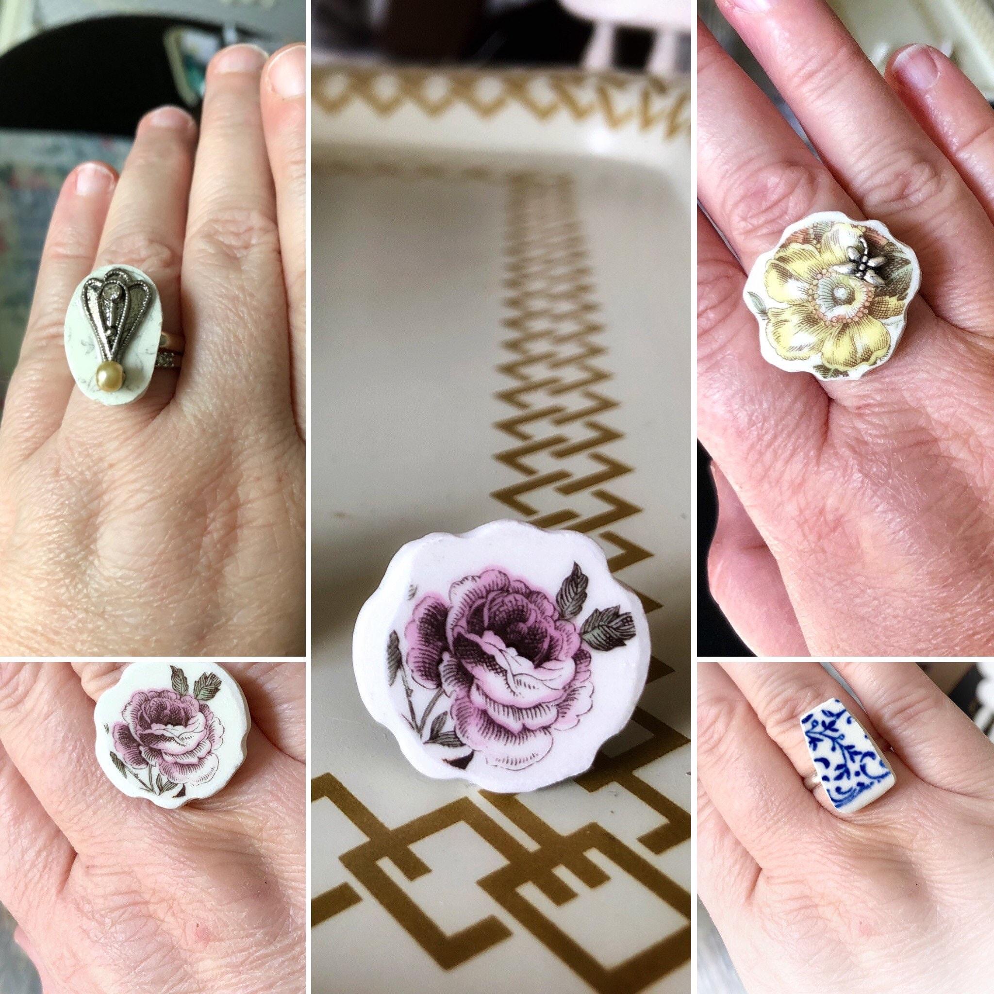Broken Dishware Ring Purple Flower