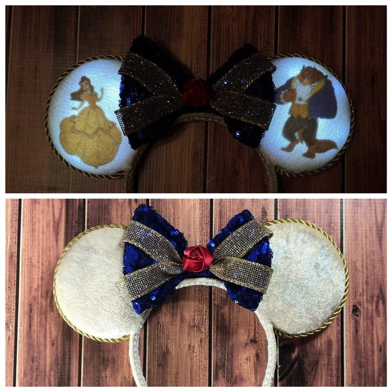 Princess ears Beauty and the Beast ears Minnie Mouse ears Beast ears light up Mickey Ears Light up ears Belle ears Belle Minnie ears