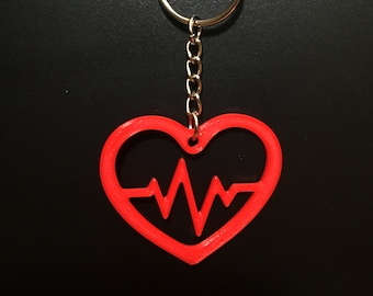 Red ECG Heartbeat Keychain Keyring Embroidery Luggage Motorcycle Key Chain Bes
