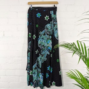 purple black Long Wrap Skirt pockets gray one size fits most small - large
