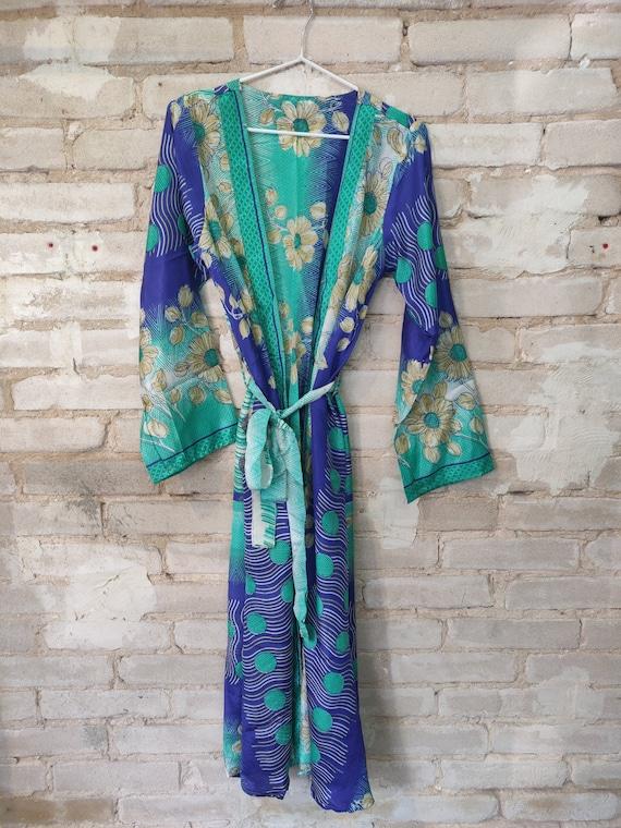Blue Floral Kimono, Kimono Robe, Floral Dressing R